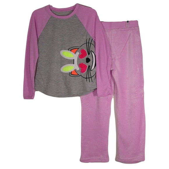 Girl's 2 Piece Cozy Graphic Top and Loose Fit Pant Pajama Set Gray XL 14/16